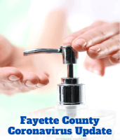 Fayette County HR Coronavirus Update, with photograph of an individual using hand sanitizer.